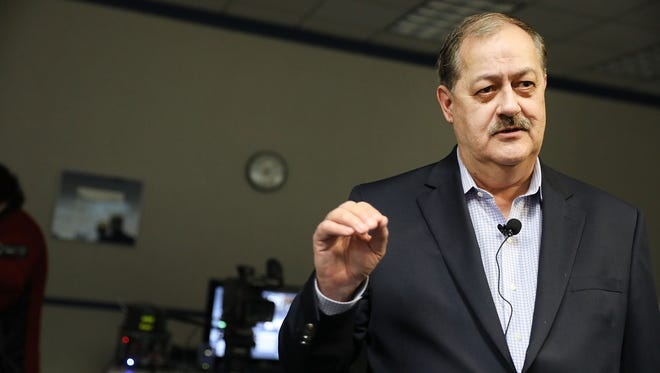 Republican candidate for U.S. Senate Don Blankenship speaks at a town hall meeting at West Virginia University on March 1, 2018 in Morgantown, West Virginia. Blankenship is the former chief executive of the Massey Energy Company where an explosion in the Upper Big Branch coal mine killed 29 men in 2010.  Blankenship, a controversial candidate in central Appalachia coal country, served a one-year sentence for conspiracy to violate mine safety laws and has continued to blame the government for the accident despite investigators findings.
