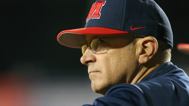 Mike Bianco, pictured in this file photo, had to watch Ole Miss blow two late leads against Vanderbilt Sunday afternoon.