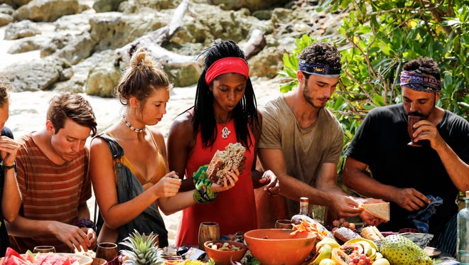 Donathan Hurley, Jenna Bowman, Laurel Johnson, Michael Yerger, and Domenick Abbate on the eighth episode of Survivor: Ghost Island, airing Wednesday, April 11.