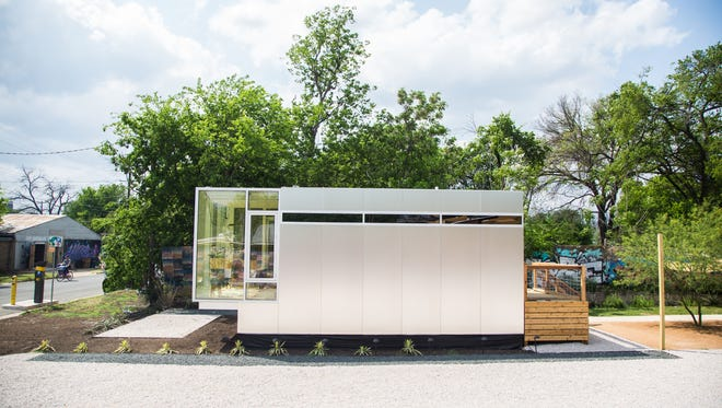 Exterior shots of the Kasita pre-fabricated accessory dwelling unit built for use as a guest house, office and rental unit or combined for use as a  micro-house complex.