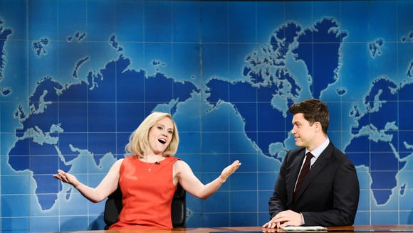 Fox News host Laura Ingraham, played by Kate McKinnon, left, tells 'Weekend Update' anchor Colin Jost about her new advertisers on 'Saturday Night Live.'