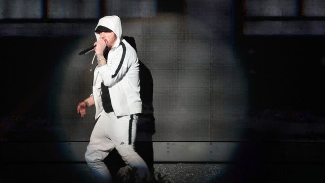 April 15, 2018; Indio, CA, USA; Eminem performs at the Coachella Valley music and Arts Festival at Empire Polo Club. Mandatory Credit: Zoe Meyers/The Desert Sun via USA TODAY NETWORK