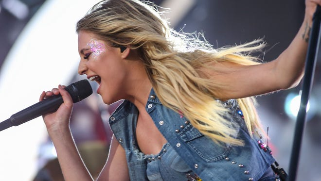 Apr 27, 2018; Indio, CA, USA; Kelsea Ballerini performs at the Stagecoach Country Music Festival at Empire Polo Club. Mandatory Credit: Jay Calderon/The Desert Sun via USA TODAY NETWORK
