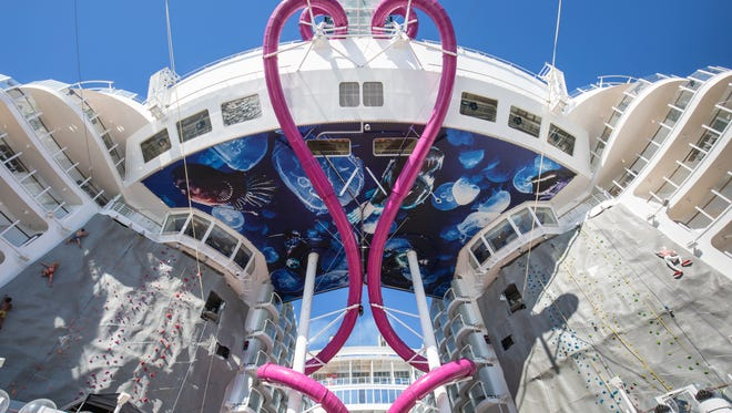 Among amusements, Symphony features the tallest slide at sea, called Ultimate Abyss.