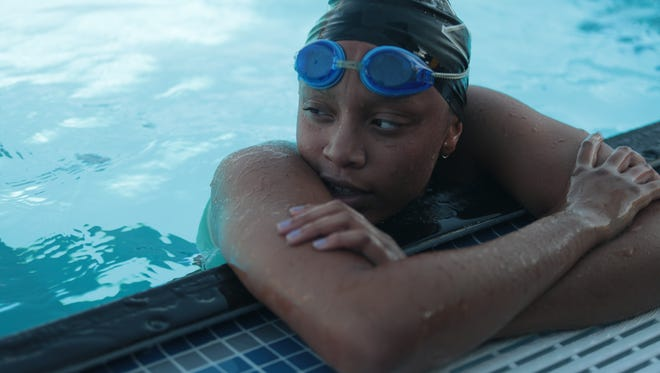 Desiree Lewis wins the 100 freestyle for the fourth consecutive year at the Desert Valley League swimming championships, Cathedral City, Calif,. May 1, 2018.