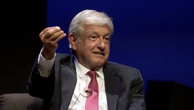 Andres Manuel Lopez Obrador, a candidate running to be Mexico's next president, speaks during a campaign event attended by students at the Monterrey Institute of Technology and Higher Education in Monterrey, Nuevo Leon, Mexico, on April 27, 2018.