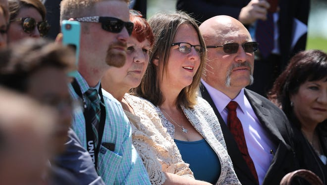 Pastor Frank Pomeroy, right, and his wife Sherri Pomeroy of Sutherland Springs, Texas, attend an event in the Rose Garden to mark the National Day of Prayer at the White House on May 3, 2018 in Washington.