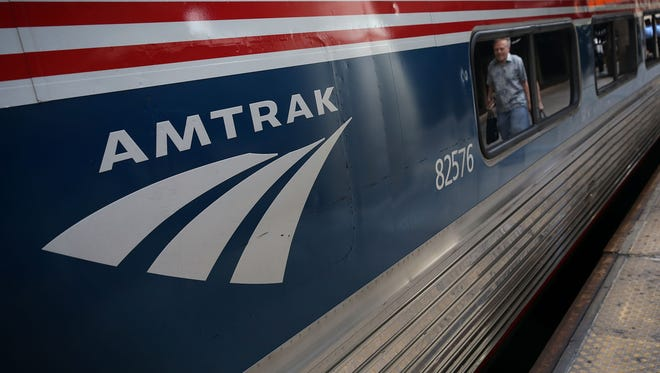 An Amtrak railcar