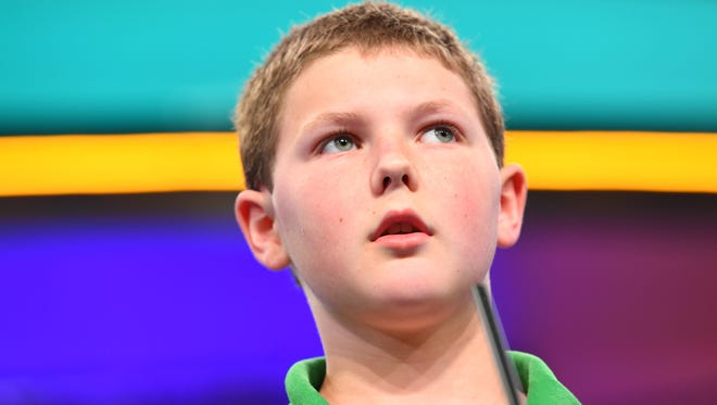 """Jared Mueller spelled the word """"iniquitous"""" correctly during the 2018 Scripps National Spelling Bee at the Gaylord National Resort and Convention Center in National Harbor, Maryland, on May 30, 2018."""