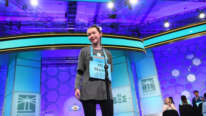 May 31, 2018; National Harbor, MD, USA;  Marisa Langley from Florida spelled the word bondieuserie correctly during the 2018 Scripps National Spelling Bee at the Gaylord National Resort and Convention Center. Mandatory Credit: Jack Gruber-USA TODAY NETWORK