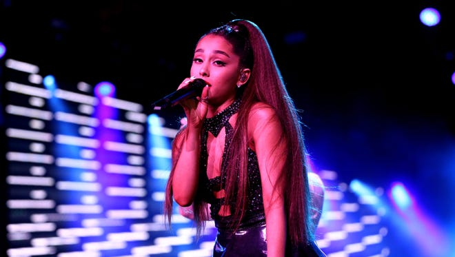 """Ariana Grande, here at the iHeartRadio Wango Tango on June 2, switched up her look for """"British Vogue."""""""