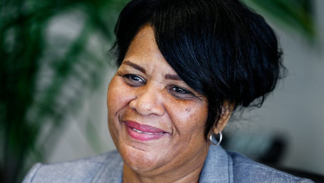 Alice Marie Johnson smiles during an interview at her lawyers office in Memphis, Tenn.