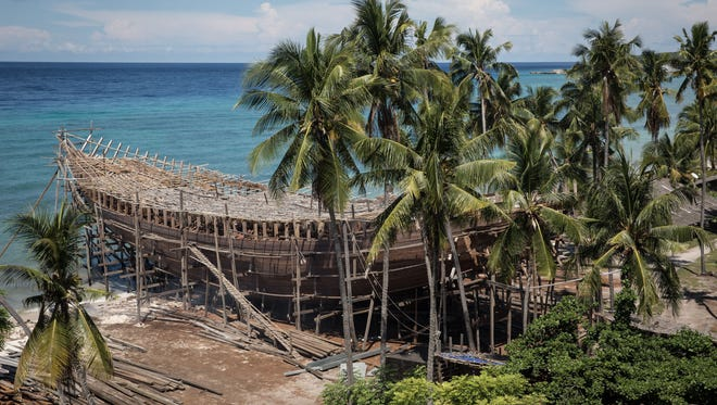 An unfinished schooner is seen at Tanjung Bira Beach  in Bulukumba, South Sulawesi, Indonesia.