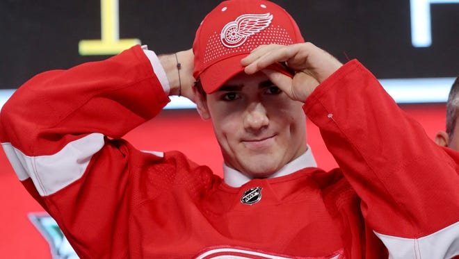 Filip Zadina reacts after being selected No. 6 overall by the Red Wings in the NHL Draft on Friday.