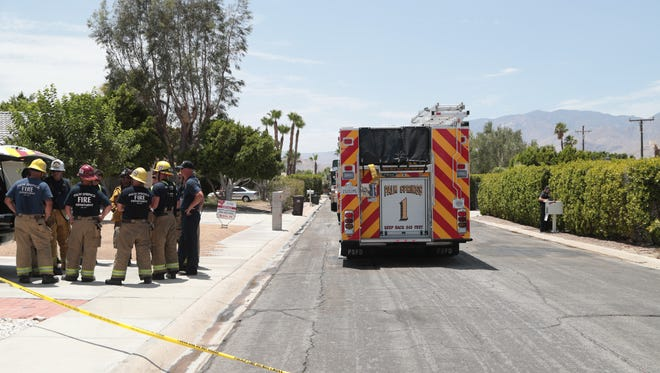 Palm Springs police and fire respond to a butane honey oil explosion at a home on Deborah Road in Palm Springs, Calif., Friday, July 6, 2018.