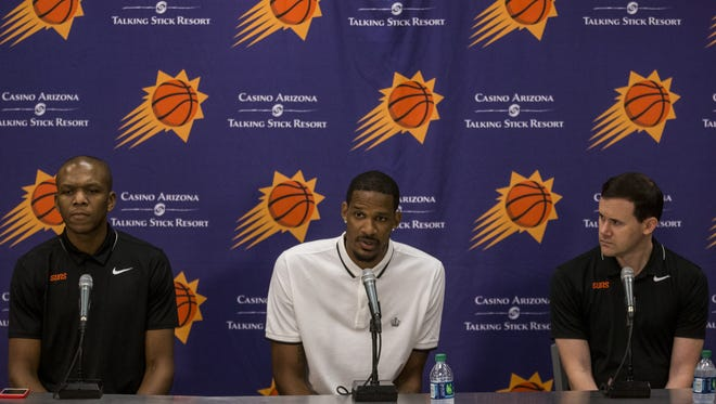 Suns free-agent acquisition Trevor Ariza was introduced to the media in Phoenix on Friday.