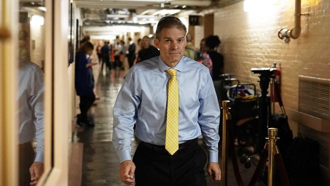 Rep. Jim Jordan, R-Ohio, arrives for a Republican conference meeting June 7, 2018 on Capitol Hill in Washington, D.C. Jordan denies allegations that he ignored sexual abuse when he was an assistant wrestling coach at Ohio State University decades ago.
