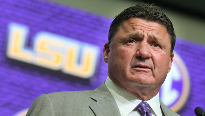 LSU head coach Ed Orgeron speaks during NCAA college football Southeastern Conference media days at the College Football Hall of Fame in Atlanta, Monday, July 16, 2018.