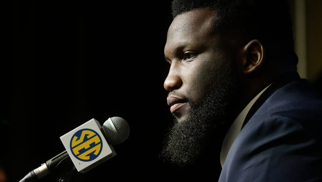 Ole Miss defensive tackle Josiah Coatney is interviewed during NCAA college football Southeastern Conference media days at the College Football Hall of Fame in Atlanta, Tuesday, July 17, 2018. (AP Photo/John Amis)