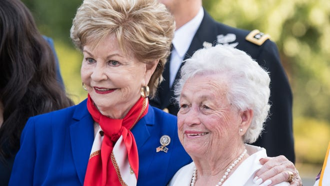 Rep. Madeleine Bordallo, Guam, and Ms. Irene Sgambelluri, Survivor of the Japanese occupation of Guam, pose for a photo at Arlington National Cemetery, Arlington, Va., July 16, 2018. The Wreath Laying Ceremony at the Tomb of the Unknown Soldier in commemoration of the 74th Anniversary of the Liberation of Guam and the Battle for the Northern Mariana Islands. (DoD Photo by U.S. Army Sgt. James K. McCann)