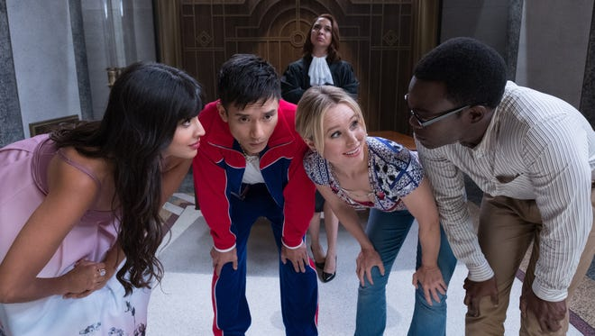 "Tahani (Jameela Jamil), Jason (Manny Jacinto), Eleanor (Kristen Bell) and Chidi (William Jackson Harper) are trying to make it to heaven in NBC's ""The Good Place."""