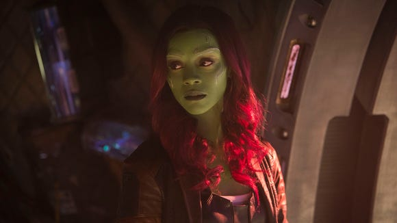 "Gamora (Zoe Saldana) has found a new family with the Guardians of the Galaxy but has her adopted dad to deal with in ""Infinity War."""