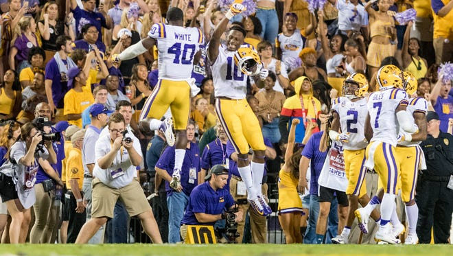 Tigers receiver Stephen Sullivan celebrates after catching a pass to score a touchdown as The LSU Tigers take on Southeastern Louisiana Lions. Saturday, Sept. 8, 2018.