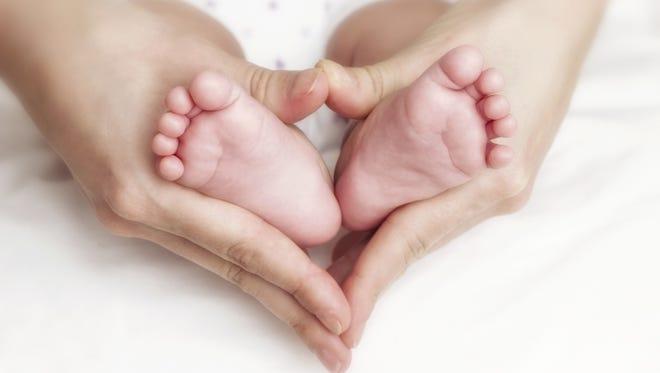 Newborn baby feet in the mother's hands.