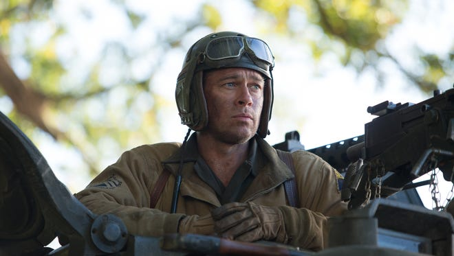 """Fury,"" starring Brad Pitt, was No. 1 at the box office this weekend."