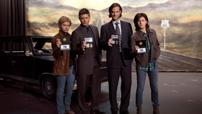 Behind the scenes at CW's 'Supernatural' with Alyssa Lynch as Shiobhan, Jensen Ackles as Dean, Jared Padalecki as Sam, and Natalie Sharp as Maggie.