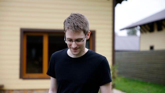 Edward Snowden appears in a scene from 'Citizenfour.'
