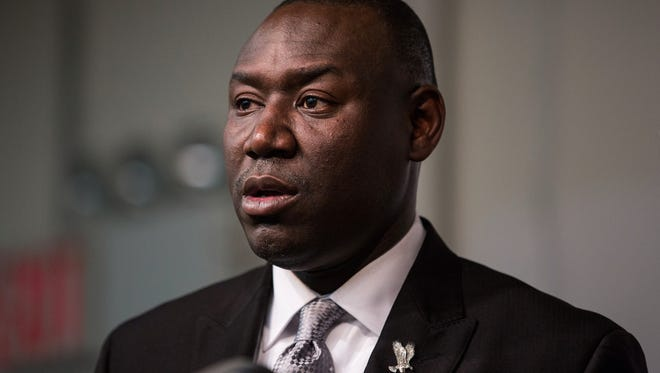 Benjamin Crump, lawyer for Michael Brown Jr.'s family, speaks at a press conference on the eve of Thanksgiving.
