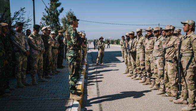 Kurdish peshmerga soldiers in Irbil, northern Iraq, on March 9, 2016.