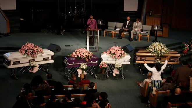 The funeral for Koi Green, Kaliegh Green, Chadney Allen and Kara Allen is held Friday September 30, 2016 at Detroit First Church of the Nazarene in Farmington Hills. The four siblings were found dead Sept. 21 at their home in Dearborn Heights. Gregory Green, the father of two of the children and husband of Faith Green, has been charged in their deaths.