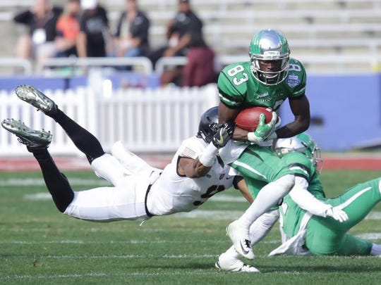 North Texas Mean Green wide receiver Tyler Wilson (83) catches a pass during the Mean Green's overtime loss to Army in the Heart of Dallas Bowl.