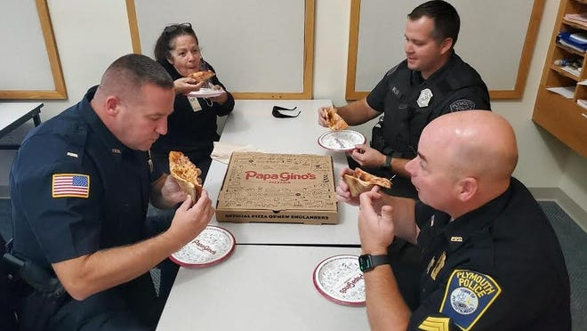 Papa Gino's donated lunch to the Plymouth police station as part of an ongoing donation program benefitting heroes in their communities.