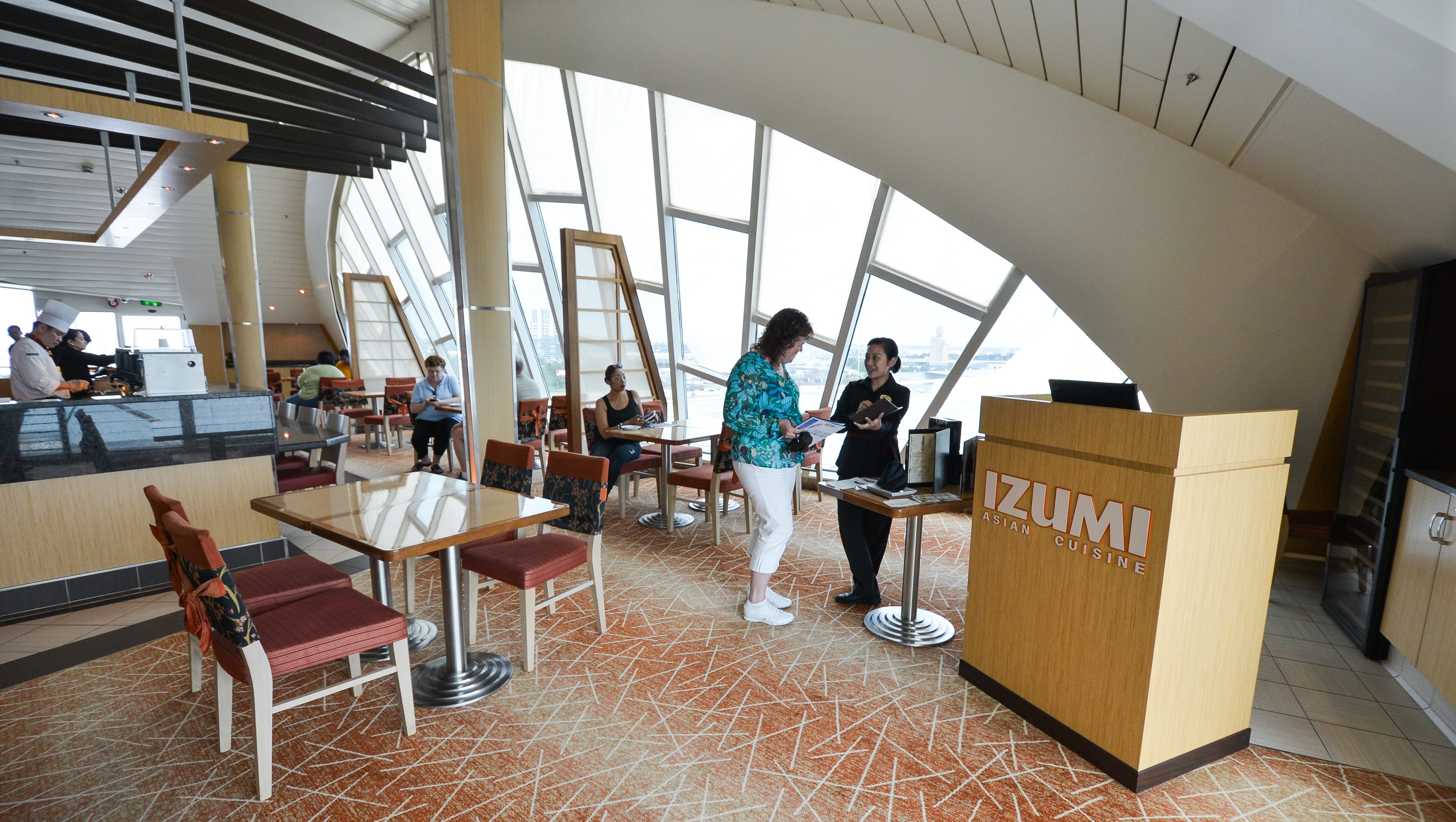 Grandeur of the Seas' first Asian eatery, Izumi, was added during the overhaul of the ship in 2012. It has a la carte pricing and a $3-per-person fee for lunch, $5 for dinner.