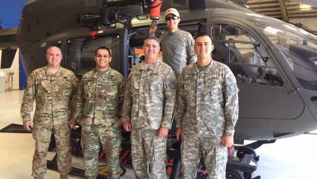 A Las Cruces National Guard Unit left Tuesday to aid in Hurricane Harvey relief. From left, Dan Nickolaus, Ty Ortega, Patrick Magill, Lee Kingsley and Jesse Ochoa.