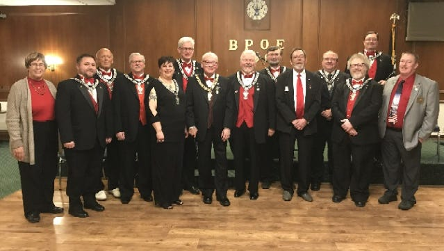 The Sheboygan Elks Lodge #299 conducted the annual installation of officers on March 24, 2018. Pictured back row: Bill Richards, PER, Secretary; Michael Roth, PER, Treasurer; Ron Wenzel, Inner Guard; Brian Jeanty, Trustee; Michael Wright, PER, Esquire. Front Row: Kathy Pluskat, Trustee; Jeff Dean, Jr., Esteemed Lecturing Knight; Wayne Kiley, Esteemed Loyal Knight; Michelle Wright, PER, Esteemed Leading Knight; Bob Bohnsack; Exalted Ruler; Greg Whelton, Chaplain; Dave Wagner, Trustee; Richard Saaman, Tiler; Troy Pool, Trustee.