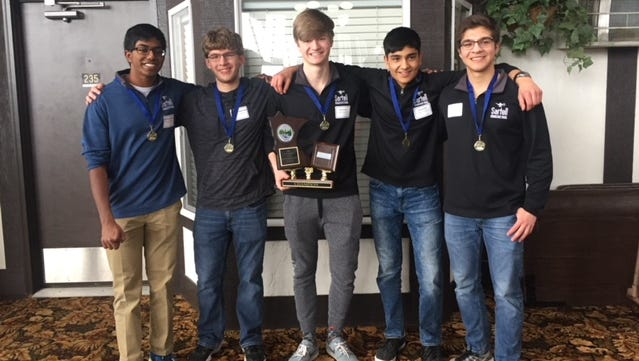 Sartell's knowledge bowl team after their first-place win, April 2018. From left: Janagan Ramanathan, Nathan Schmidt, Jacob Fandel, Yash Hindka, Mohannad Alkhatib