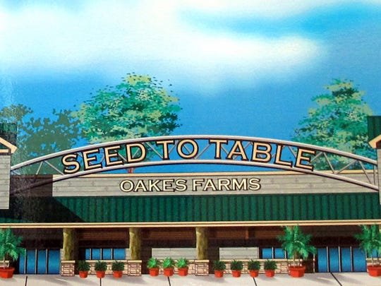 A rendering of the exterior of Oakes Farms' Seed to