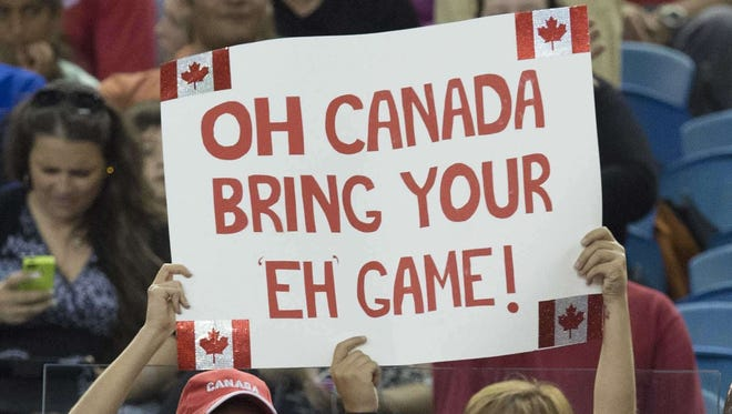 Canadian fans hold up a sign in Montreal on June 15, 2015.