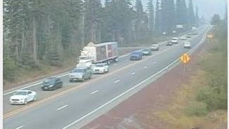 ODOT webcam shows traffic backed up on Highway 20.