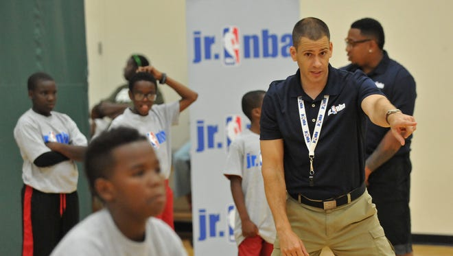 Kids participate in a Jr. NBA Clinic on July 29, 2015 at Quest Multisport in Chicago, Illinois.