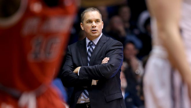Butler coach Chris Holtmann paces in front of the bench during the second half of the Bulldogs' 85-62 win over St. John's on Feb. 3, 2015, at Hinkle Fieldhouse.