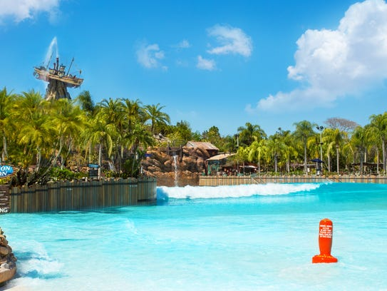 The Typhoon Lagoon Surf Pool, the largest wave pool