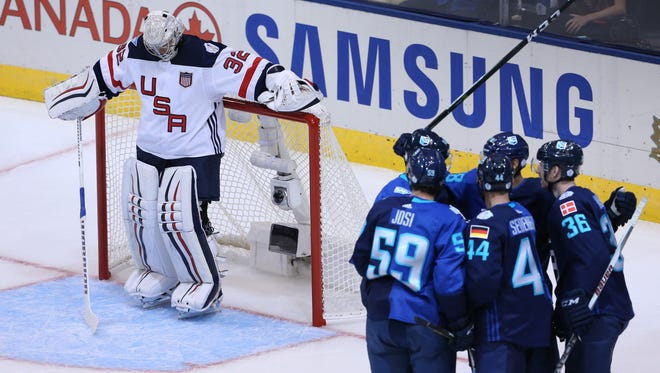 Team USA goaltender Jonathan Quick (32) reacts to allowing a second-period goal against Team Europe.