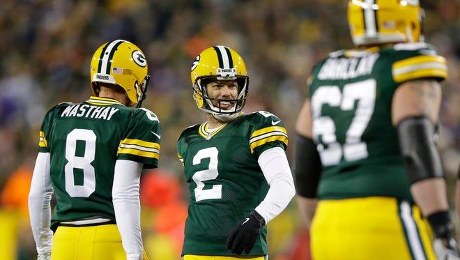 Green Bay Packers kicker Mason Crosby (2) celebrates his first quarter field goal against the Minnesota Vikings at Lambeau Field.