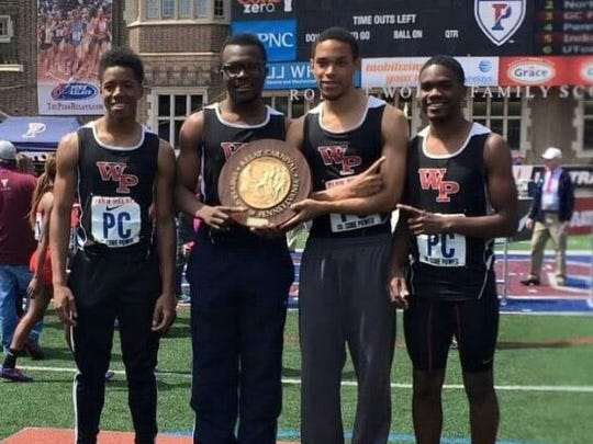 William Penn's (from left) Chiason Tenkeang, Kyler Murray, Kamau Floyd and Adrian Spaulding combined to win the Northern Delaware boys 4x400 relay in 3:24.78 on Saturday at the Penn Relays.