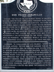 2. Historical marker at Los Olmos recognizes Don Pedro Jaramillo's contribution to Texas.
